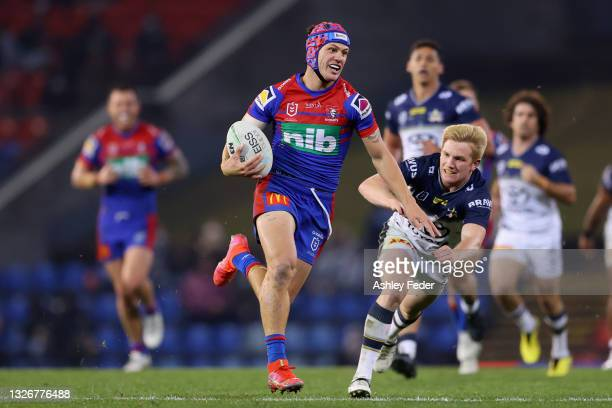 Kalyn Ponga of the Knights in action during the round 16 NRL match between the Newcastle Knights and the North Queensland Cowboys at McDonald Jones...