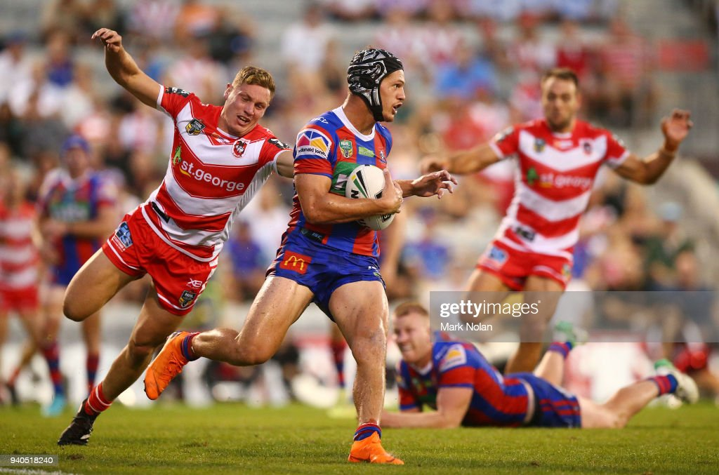 Kalyn Ponga of the Knights in action during the round four NRL match between the St George Illawarra Dragons and the Newcastle Knights at WIN Stadium on April 1, 2018 in Wollongong, Australia.
