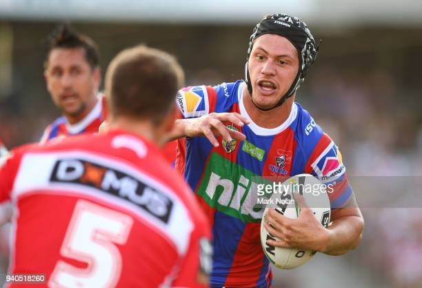 Kalyn Ponga of the Knights in action during the round four NRL match between the St George Illawarra Dragons and the Newcastle Knights at WIN Stadium...