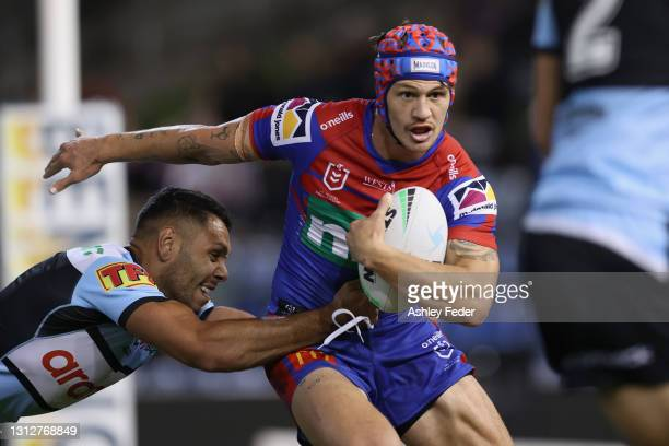 Kalyn Ponga of the Knights in action during the round six NRL match between the Newcastle Knights and the Cronulla Sharks at McDonald Jones Stadium,...
