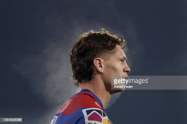 Kalyn Ponga of the Knights looks on during the round 13 NRL match between the Newcastle Knights and the Wests Tigers at McDonald Jones Stadium on...