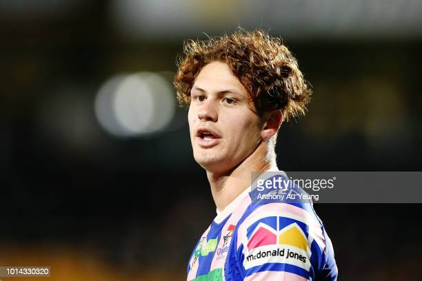 Kalyn Ponga of the Knights looks on during warmup prior to the round 22 NRL match between the New Zealand Warriors and the Newcastle Knights at Mt...
