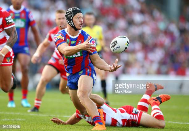 Kalyn Ponga of the Knights makes a line break during the round four NRL match between the St George Illawarra Dragons and the Newcastle Knights at...