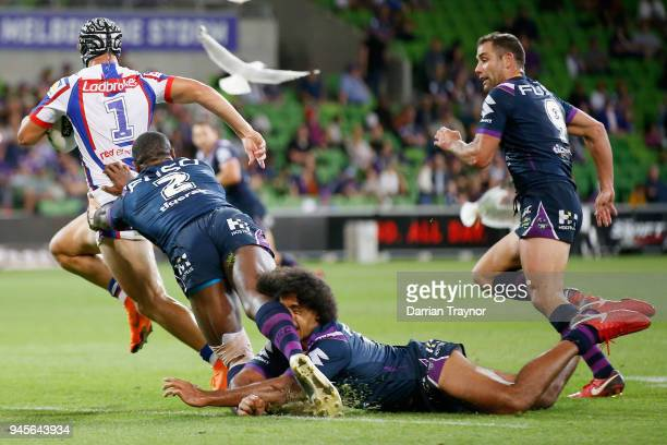 Kalyn Ponga of the Knights runs clear during the round six NRL match between the Melbourne Storm and the Newcastle Knights at AAMI Park on April 13...