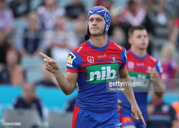 Kalyn Ponga of the Knights runs out at the start of the game during the NRL trial match between the Sydney Roosters and the Newcastle Knights at...