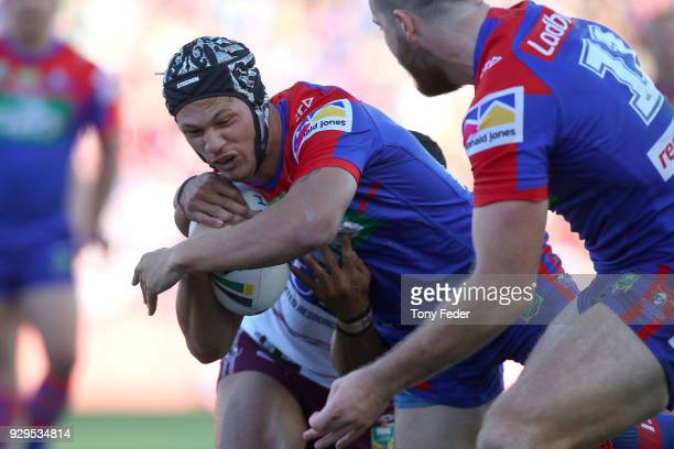 Kalyn Ponga of the Knights scores a try during the round one NRL match between the Newcastle Knights and the Manly Sea Eagles at McDonald Jones...