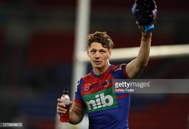 Kalyn Ponga of the Newcastle Knights at the end of the game during the round 17 NRL match between the Newcastle Knights and the Cronulla Sharks at...