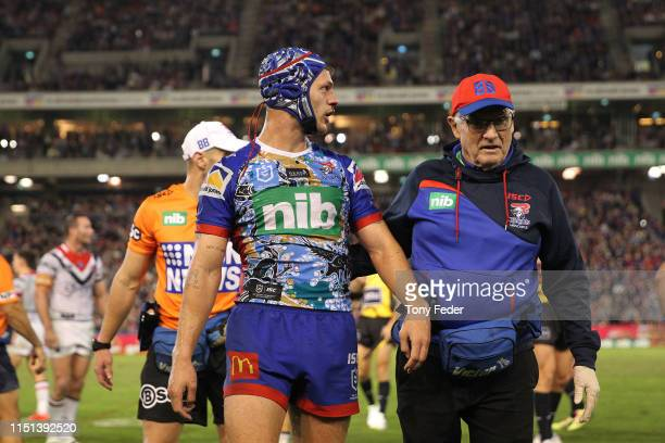 Kalyn Ponga of the Newcastle Knights leaves the ground after getting injured during the round 11 NRL match between the Newcastle Knights and the...
