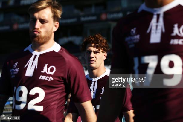 Kalyn Ponga walks onto the field during the Queensland Maroons State of Origin captain's run at ANZ Stadium on June 23 2018 in Sydney Australia