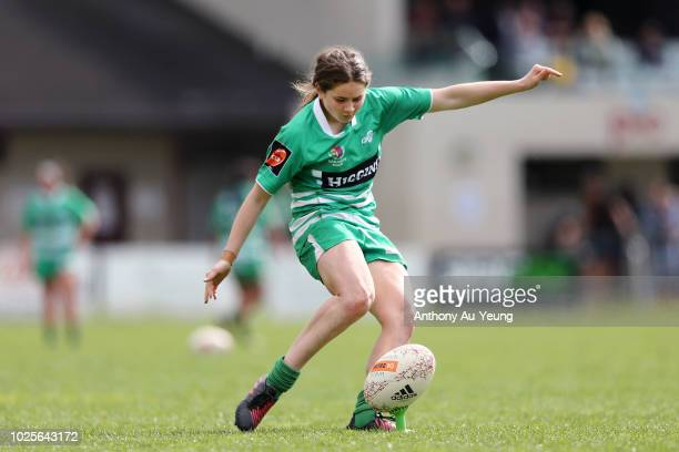 Kalyn Takitimu-Cook of Manawatu kicks a conversion during the round one Farah Palmer Cup match between Auckland and Manawatu on September 1, 2018 in...