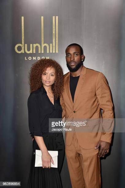 Kam Chancellor and his wife Tiffany Luce attend the Dunhill London Menswear Spring/Summer 2019 show as part of Paris Fashion Week on June 24 2018 in...