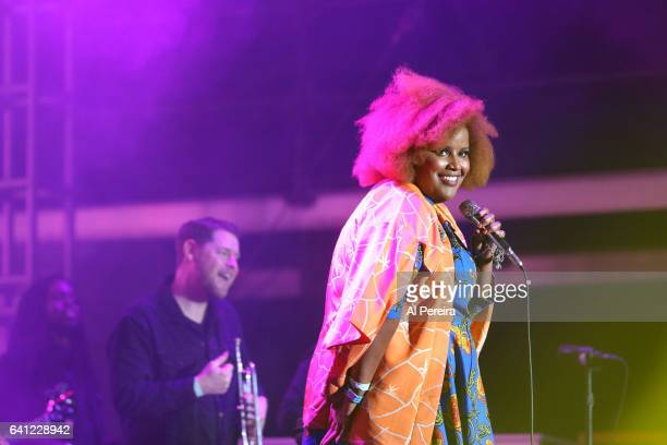 Kam Franklin and The Suffers open when ZZ Top performs during Super Bowl Live at Root Memorial Square Park in Houston Texas on February 4 2017