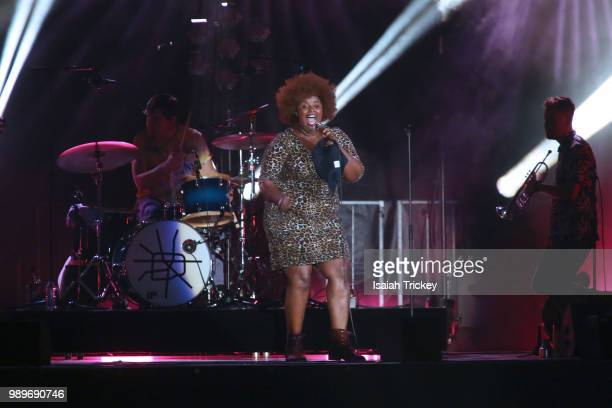 Kam Franklin of The Suffers performs during the 2018 Montreal International Jazz Festival at TD Stage Place des Festivals on July 1 2018 in Montreal...