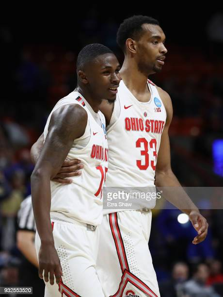 Kam Williams and Keita BatesDiop of the Ohio State Buckeyes celebrate defeating the South Dakota State Jackrabbits 8173 in the first round of the...