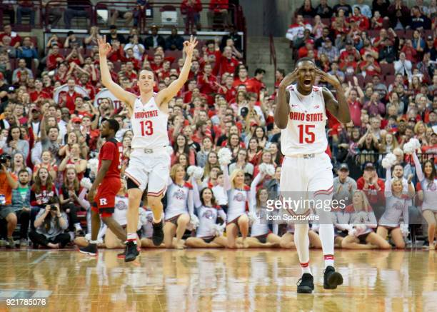 Kam Williams of the Ohio State Buckeyes reacts to making a three point basket during the game between the Ohio State Buckeyes and the Rutgers Scarlet...