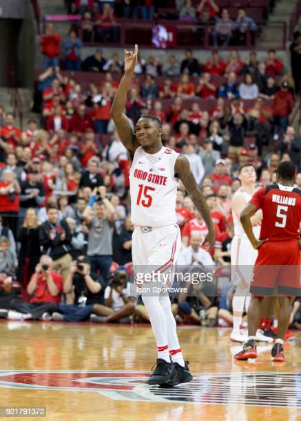 Kam Williams of the Ohio State Buckeyes thanks the fas after be sub out for the last time of his college career during the game between the Ohio...