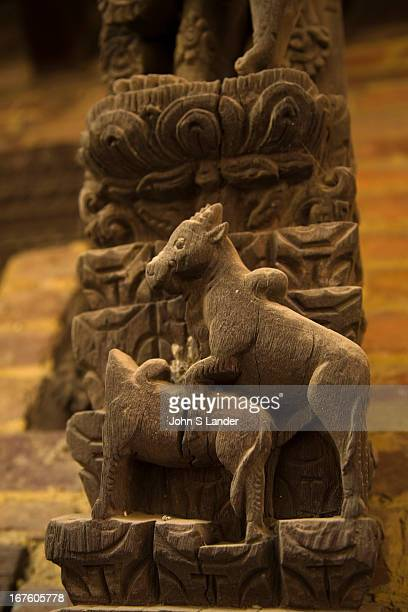 Kama Sutra animals including these sheep decorate the struts of the Shiva Parvati Temple just outside Durbar Square in Bhaktapur Other animals...