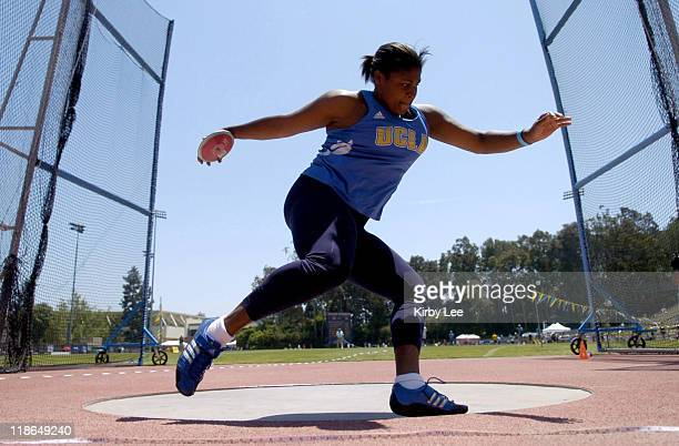 Kamaiya Warren of UCLA won the women's discus at 183-3 in the Pacific-10 Conference Track & Field Championships at UCLA's Drake Stadium in Westwood,...
