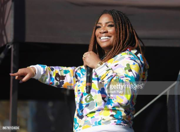 Kamaiyah performs on the Flog Stage during day 1 of Camp Flog Gnaw Carnival 2017 at Exposition Park on October 28 2017 in Los Angeles California