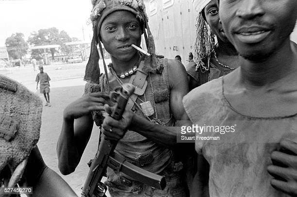 Kamajor Fighters in Bo Sierra Leone Kamajors were a well armed militia fighting for the government forces aginst the RUF rebels Linked with...