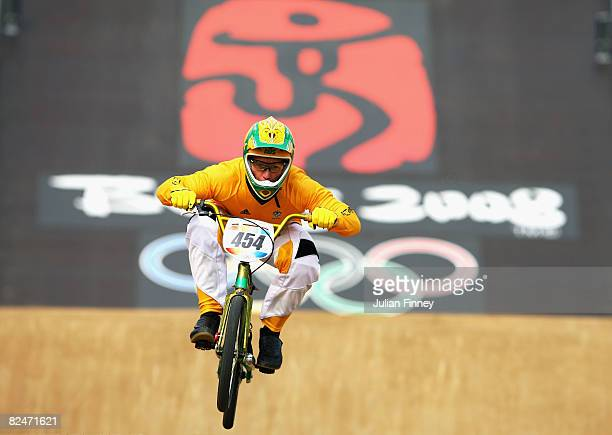 Kamakazi of Australia competes in the Men's BMX Seeding Phase at the Laoshan Bicycle Moto Cross Venue during Day 12 of the Beijing 2008 Olympic Games...