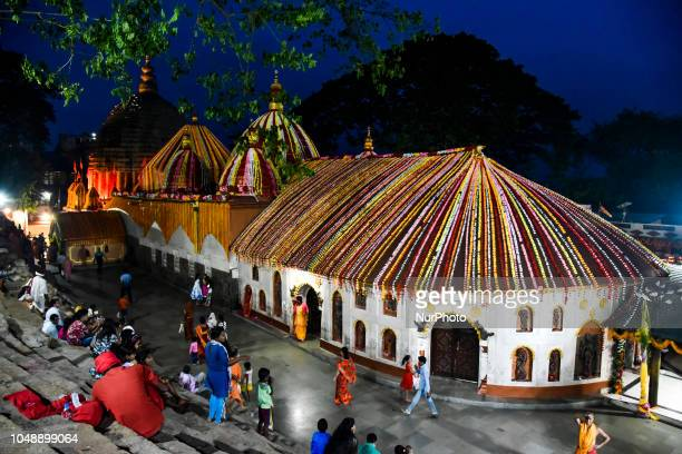 Kamakhya Temple is being decorated with flower beads in the occasion of Navratri in Guwahati Assam India on Wednesday 10 October 2018