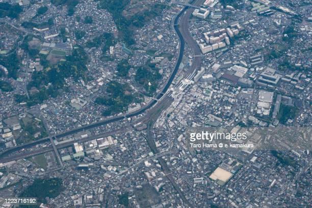 kamakura and yokohama cities in kanagawa prefecture of japan aerial view from airplane - yokohama stock pictures, royalty-free photos & images