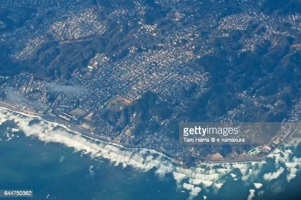 Kamakura Shichirigahama and Inamuragasaki townscape aerial view from airplane
