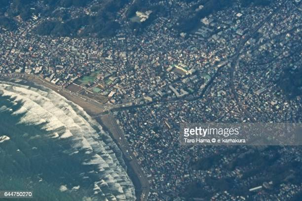 Kamakura townscape aerial view from airplane