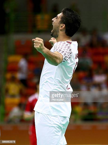 Kamal Aldin Mallash of Qatar celebrates a goal during the Men's Preliminary Group A match between Croatia and Qatar on Day 2 of the Rio 2016 Olympic G