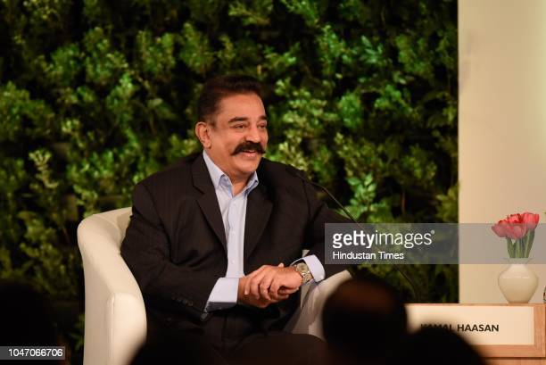 Kamal Haasan actor filmmaker and founder Makkal Needhi Maiam political party during a first day of Hindustan Times Leadership Summit 2018 at Taj...