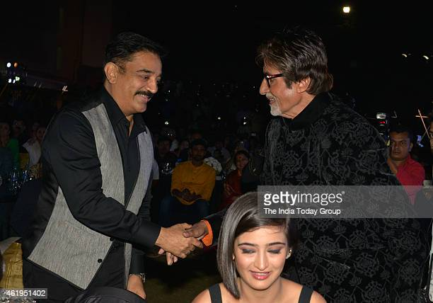Kamal Haasan Amitabh Bachchan and Akshara Haasan at the music launch of Shamitabh and celebrating 1000 films of Ilaiyaaraaja music
