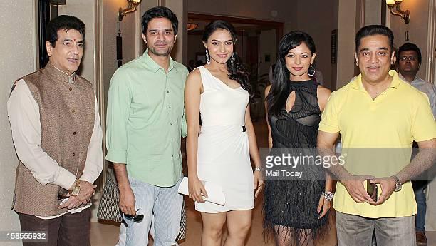 Kamal Haasan Andrea Jeremiah Pooja Kumar and Jeetendra during the promotion of the forthcoming dual language Tamil and Hindi film Vishwaroopam at a...