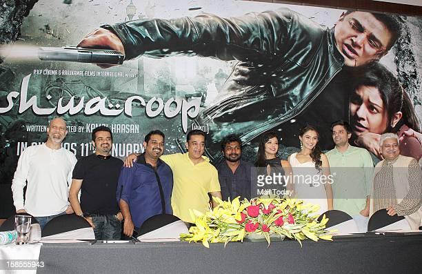 Kamal Haasan Andrea Jeremiah Shankar Mahadevan Ehsaan Noorani Loy Mendonsa and Pooja Kumar during the promotion of the forthcoming dual language...