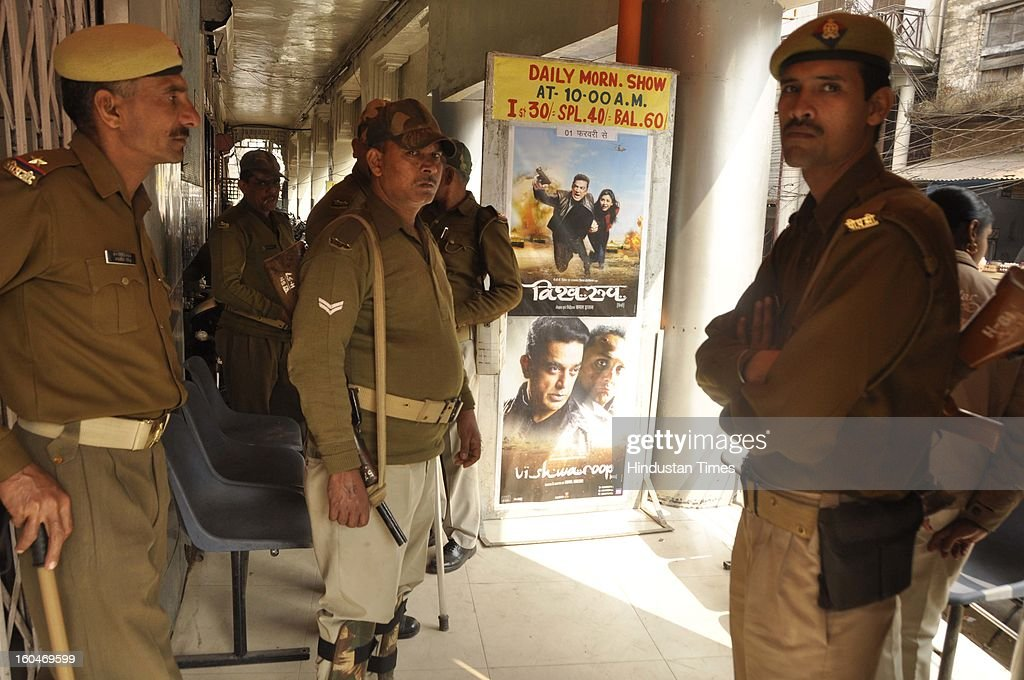 Kamal Hassan's controversial movie Vishwaroopam was screened amid tight security in five cinema halls on February 1, 2013 in Lucknow, India. The film that was banned in Tamil Nadu and was facing security threats with some Muslim groups taking objection to certain scenes in the movie as hurting their religious sentiments.