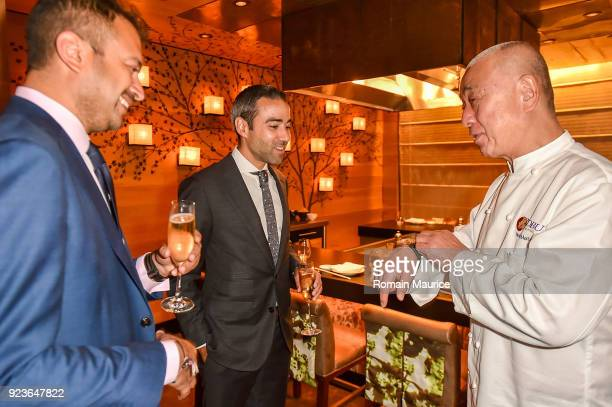 Kamal Hotchandani Jean Franois Sberro chef Nobu Matsuhisa attend HUBLOT Dinner Honoring Chef Nobu Matsuhisa at Nobu on February 23 2018 in Miami...