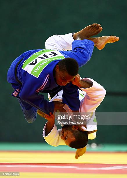 Kamal Khan-Magomedov of Russia and Loic Korval of France compete in the Men's Judo -66kg Final during day thirteen of the Baku 2015 European Games at...