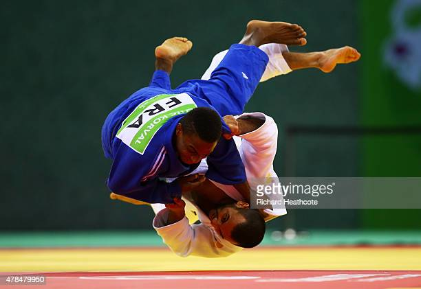 Kamal KhanMagomedov of Russia and Loic Korval of France compete in the Men's Judo 66kg Final during day thirteen of the Baku 2015 European Games at...