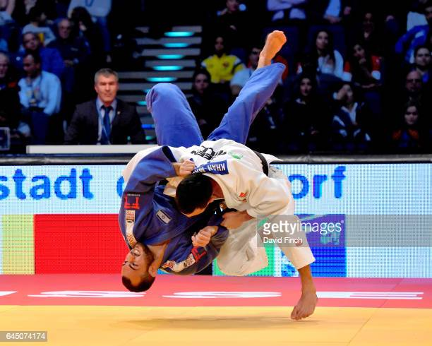Kamal Khan-Magomedov of Russia throws Baruch Shmailov of Israel for an ippon to win their u66kg bronze medal contest during the 2017 Dusseldorf Grand...