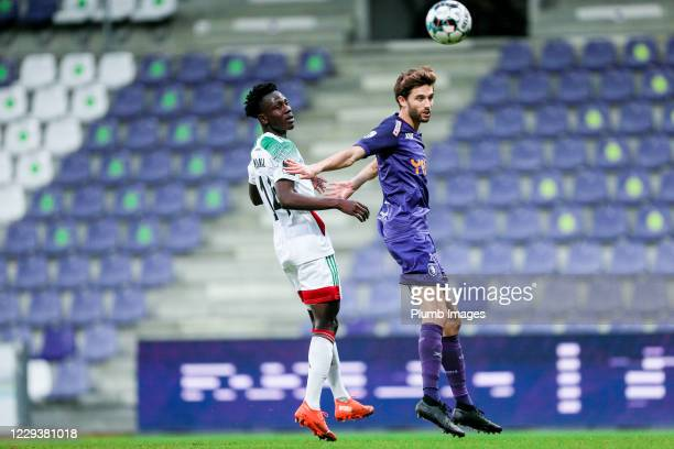 Kamal Sowah of OH Leuven battles for possession with Jan Van Den Bergh of Beerschot during the Jupiler Pro League match between Beerschot and OH...