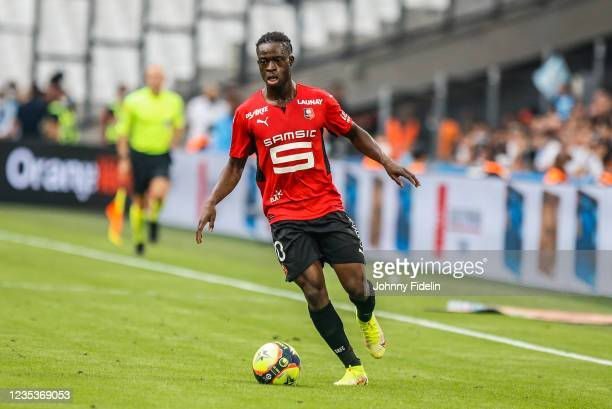 Kamal SULEMANA of Rennes during the Ligue 1 Uber Eats match between Marseille and Rennes at Orange Velodrome on September 19, 2021 in Marseille,...