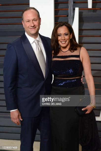 Kamala Harris and her husband Douglas Emhoff attend the 2015 Vanity Fair Oscar viewing party at the Wallis Annenberg Center for the Performing Arts...