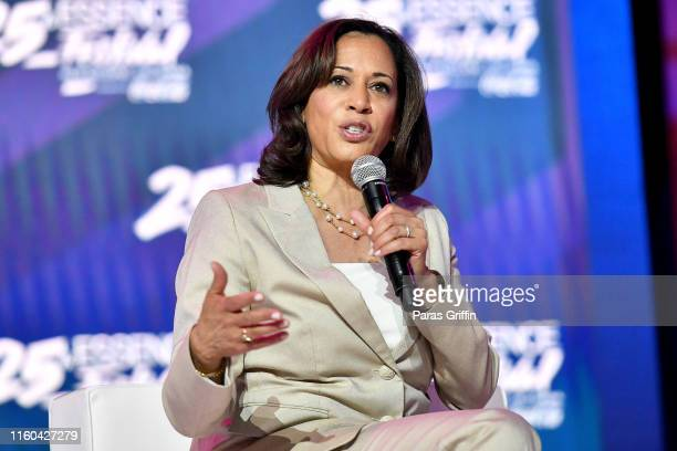 Kamala Harris speaks on stage at 2019 ESSENCE Festival Presented By CocaCola at Ernest N Morial Convention Center on July 06 2019 in New Orleans...