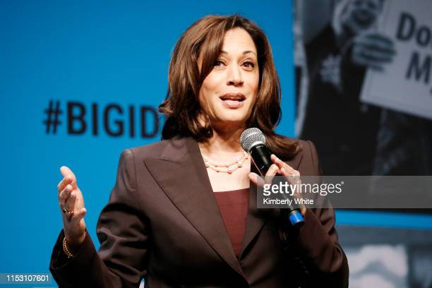 Kamala Harris speaks onstage at the MoveOn Big Ideas Forum at The Warfield Theatre on June 01 2019 in San Francisco California