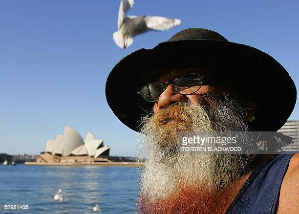 Kamaloria Aborigine Malcolm Munro watches an indigenous reconciliation event during the 8th National Sorry Day on the foreshores of Sydney Harbour 26...