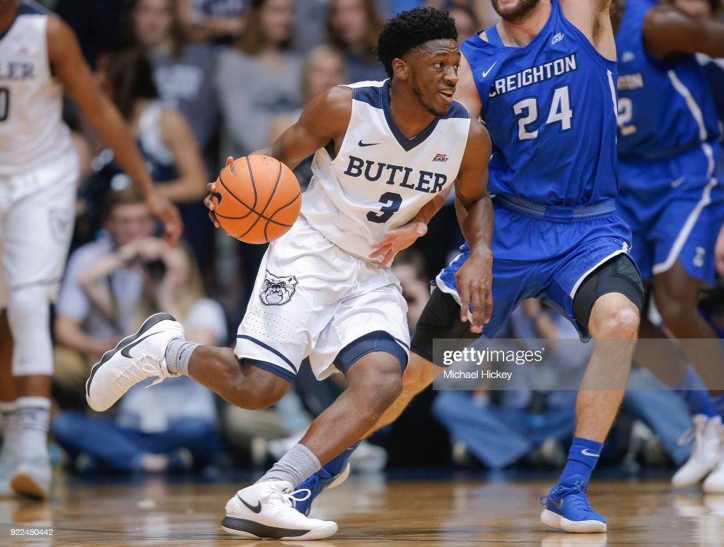 Kamar Baldwin #3 of the Butler Bulldogs dribbles the ball against Mitch Ballock #24 of the Creighton Bluejays at Hinkle Fieldhouse on February 20, 2018 in Indianapolis, Indiana.