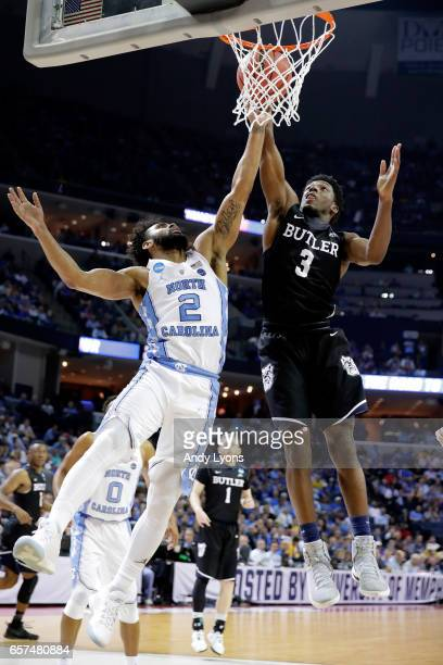 Kamar Baldwin of the Butler Bulldogs drives to the basket against Joel Berry II of the North Carolina Tar Heels in the second half during the 2017...