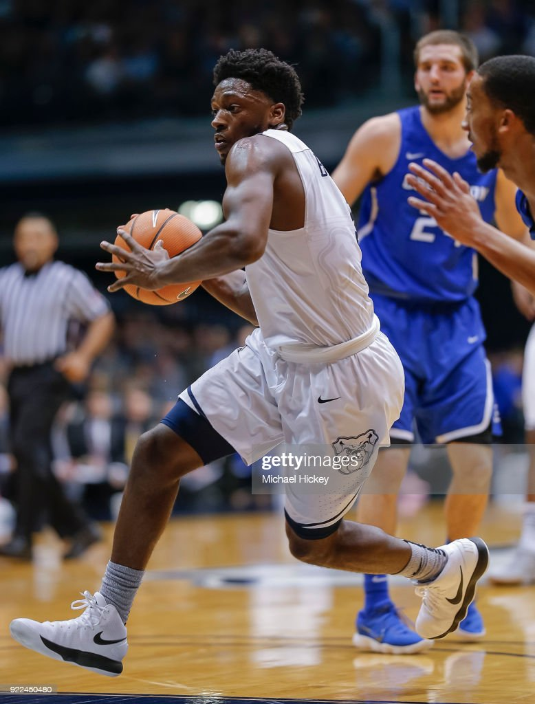 Kamar Baldwin #3 of the Butler Bulldogs drives to the basket during the game against the Creighton Bluejays at Hinkle Fieldhouse on February 20, 2018 in Indianapolis, Indiana.