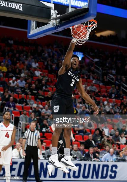 Kamar Baldwin of the Butler Bulldogs dunks the ball during the NCAA Division I Men's Basketball First Round game between the Arkansas Razorbacks and...