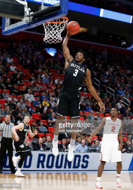 Kamar Baldwin of the Butler Bulldogs goes up for a dunk during the NCAA Division I Men's Basketball First Round game between the Arkansas Razorbacks...